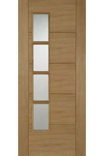 Internal Fire Door Oak Iseo 4 Light Off Set Clear Glazed Pre Finished