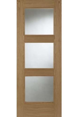 Internal Door Oak Madrid 3 Light Clear Bevelled Glass Prefinished