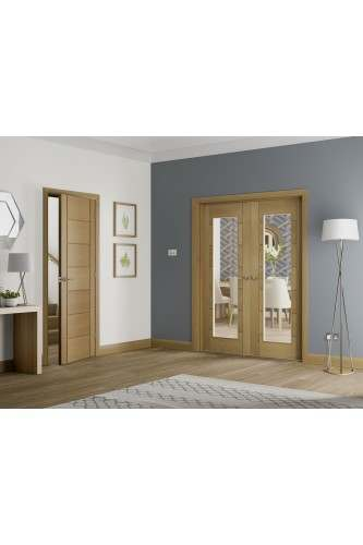 Internal Oak Palermo Rebated Door Pair with Clear Glass Untreated