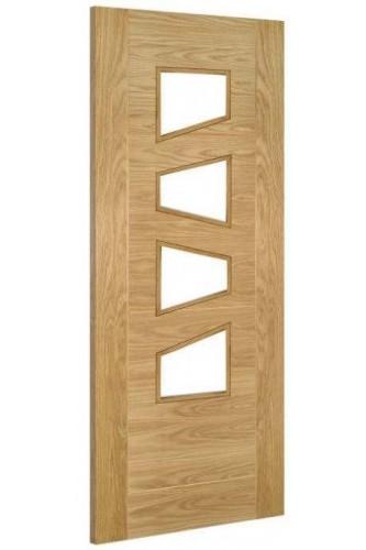 Internal Door Oak Seville 4 Light ( Slanted ) Prefinished