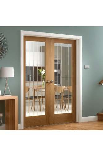 "Internal Rebated Door Pair Oak Suffolk with Clear Etched Glass Fully Finished MATT- 48"" - CLEARANCE"
