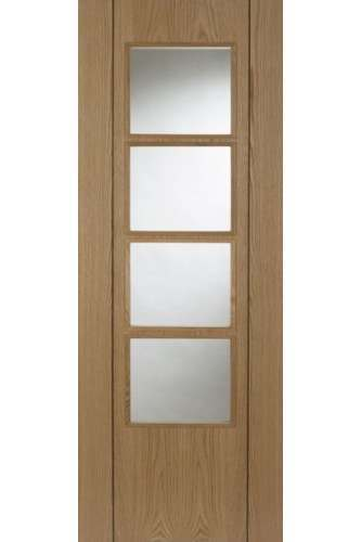 Internal Fire Door Oak Vision 4 Light With Walnut Inlay Prefinished