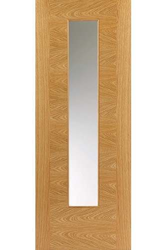 Internal Door Oak Ostria with Clear Glass Prefinished Semi Solid Core