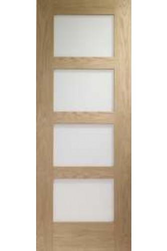 Internal Door Oak Shaker with Obscure Glass Untreated