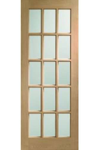 XL Internal Door Oak SA77 clear bevelled glass Untreated