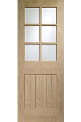 Internal Door Oak Suffolk clear bevelled glass Unfinished