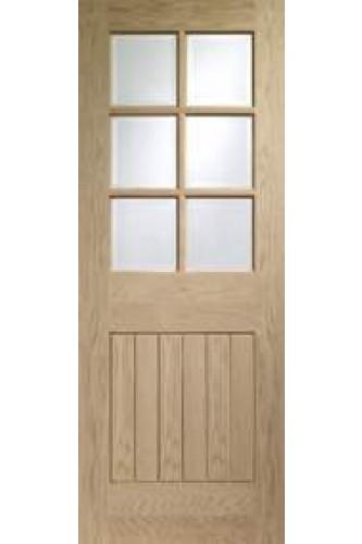 Internal door oak suffolk clear bevelled glass for Door 2040 x 726