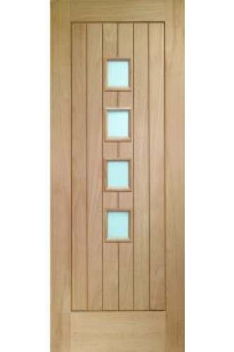 Internal Door Oak Contemporary Suffolk 4 Light with Obscure Glass Unfinished