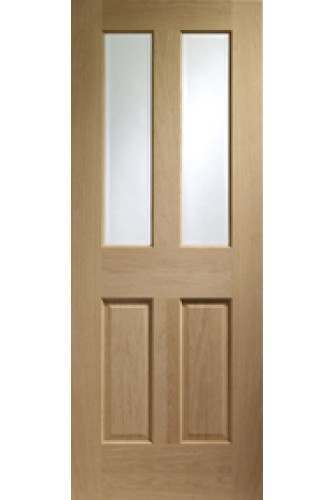 Internal Door Oak Malton with Clear Bevelled Glass and non raised moulding prefinished