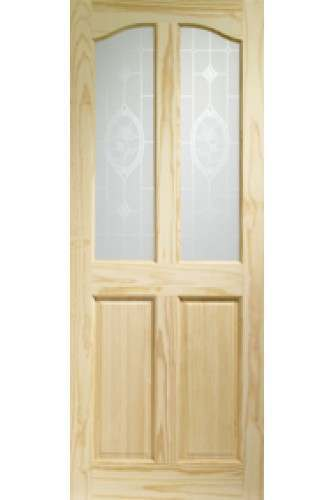 XL Internal Door Clear Pine Rio with Crystal Rose Glass