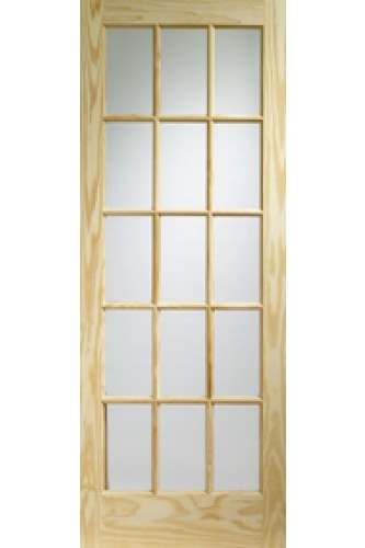 XL Internal Door Knotty Pine SA77 with Clear Glass