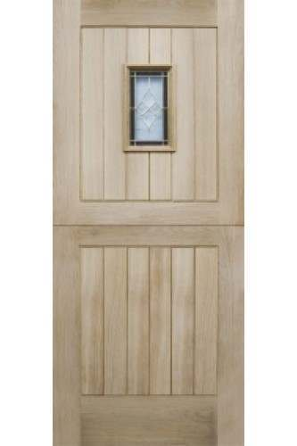 External Door Triple Glazed Oak Chancery Stable with Brass Caming