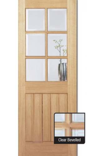Internal Door Oak Mexicano 6 Light Unfinished