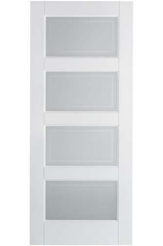 Internal Door Contemporary 4L Glazed Solid White Primed