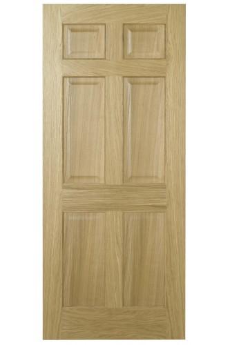 Internal Fire Door Oak Regency 6 Panel with non raised moulding Prefinished