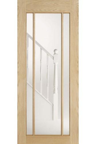 Internal Door Oak Lincoln 3 Light Clear Glazed Untreated