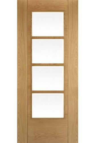 Internal Door Semi Solid Oak Iseo Central 4 Light Clear Bevelled Glass Pre Finished