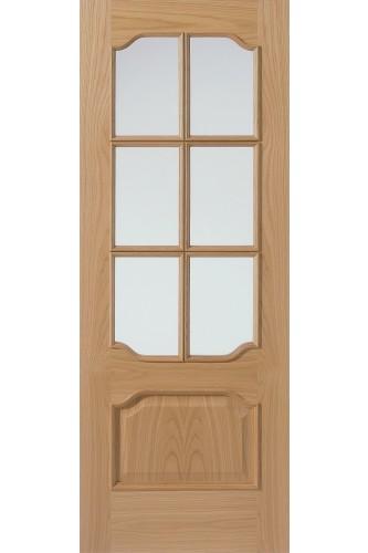 Internal Door Oak 92 6VMN with Raised Mouldings Un finished Clear Glazed