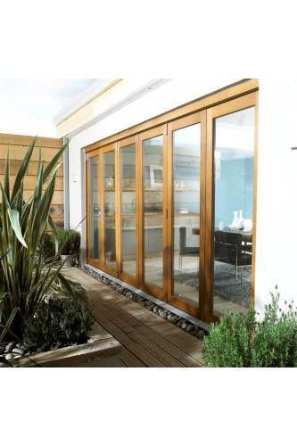 14ft External Oak Nuvu Pre Finished Folding Door Set 4.2M