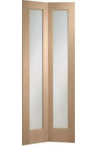 Internal Oak Door Pattern 10 Bi fold with clear glass