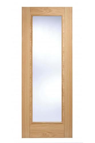 Internal Fire Door Oak Vancouver Pattern 10 Clear Glazed Pre Finished