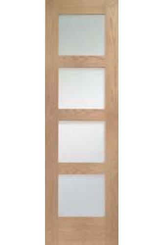 Internal Oak Shaker with Clear Glass Semi Panel