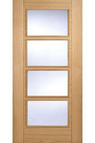 Internal Fire Door Oak Vancouver Central 4 Light Prefinished