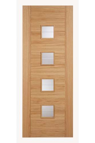 Internal Door Oak Vancouver Brilliant Clear Cut Glazed Pre finished