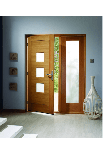 External Door Oak Turin with Obscure Glass Pattern 10 Sidelight