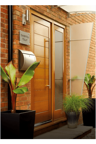 External Door Oak Modena, Pattern 10 Sidelight With Obscure Glass And Sidelight  Frame Kit