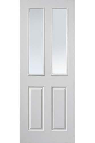 Internal Fire Door White Primed Moulded Panel Canterbury 2 Light