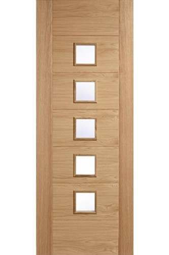 Internal Door Oak Carini 5 Light with Clear Glass Prefinished LPD