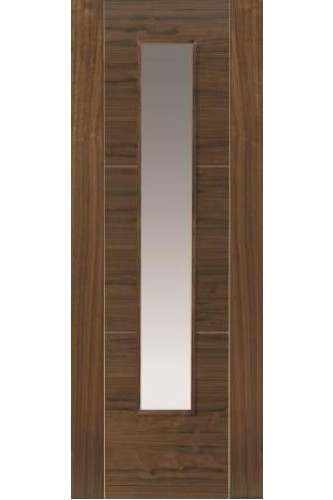 Internal Door Walnut Mistral with Clear Glass Prefinished Semi Solid Core