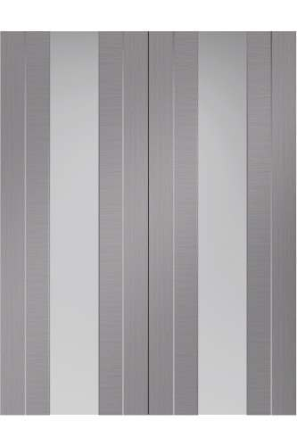 Internal Door Pair Light Grey Forli with Clear Glass and aluminium inlay Prefinished DISCONTINUED