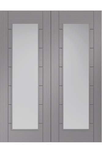 Internal Door Pair Light Grey Palermo with Clear Glass Prefinished DISCONTINUED
