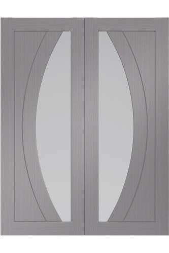 Internal Door Pair Light Grey Salerno with Clear Glass Prefinished DISCONTINUED