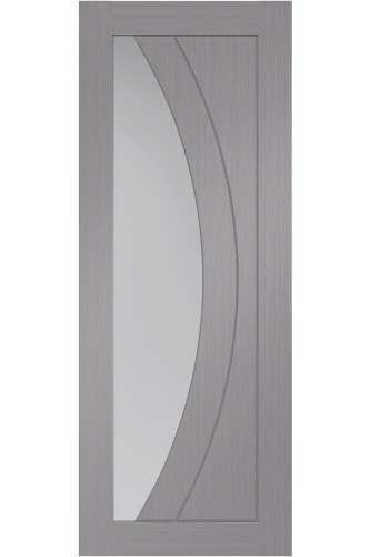 Internal Door Salerno Light Grey with Clear Glass Prefinished