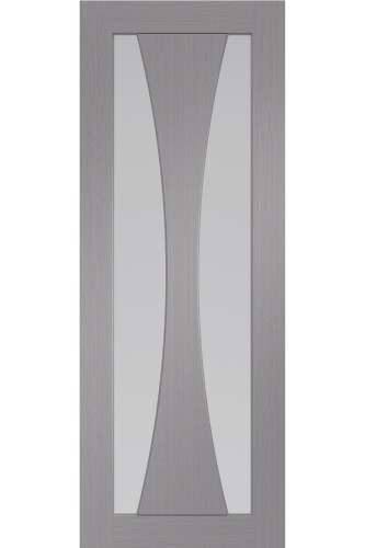 Internal Door Verona Light Grey with Clear Glass Prefinished DISCONTINUED