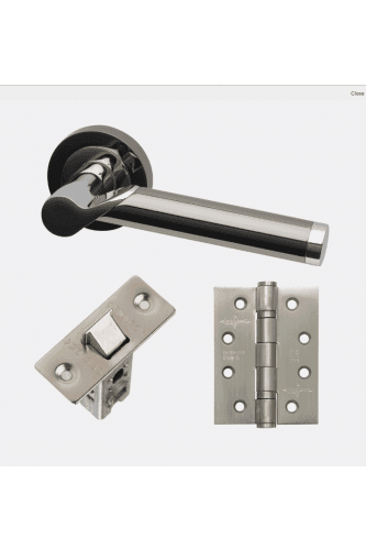 Internal Door HARDWARE PACK Polaris Premium Plus in Polished Chrome/Black Chrome