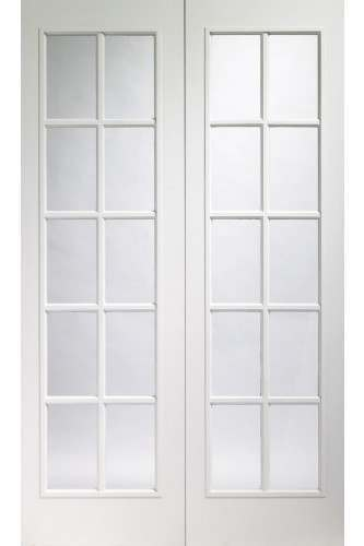 Internal Door Prefinished White Moulded Portobello Pair With Clear Glass
