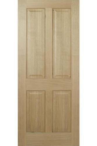 Internal Fire Door Oak Regency 4 Panel with non raised moulding Prefinished LPD
