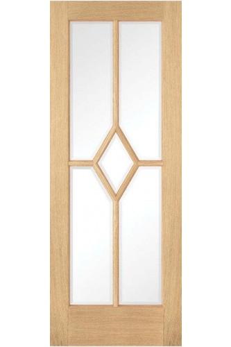 Internal Door Oak Reims 5 Panel Clear Bevelled Glass Prefinished
