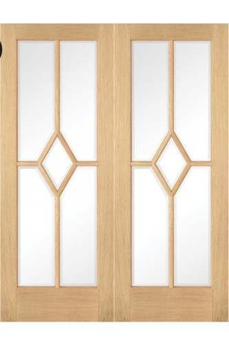 Internal REBATED Door PAIR Oak Reims 5 Panel Clear Bevelled Glass Prefinished