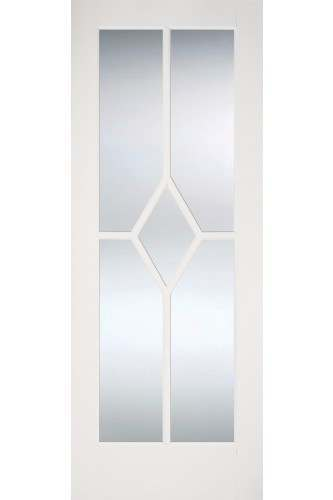 Internal Door White Primed Reim Diamond with Clear Bevelled Glass