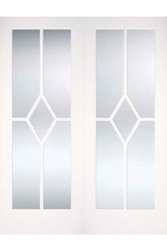 Internal Door Pair White Primed Reim Diamond with Clear Bevelled Glass