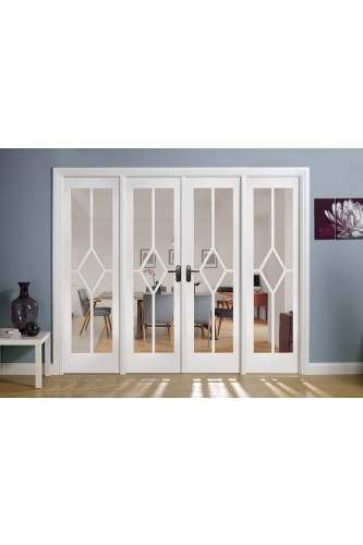 Internal Room Divider W8 White Primed Reim Diamond with Clear Bevelled Glass