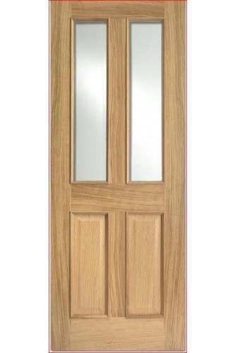 Internal Door Oak Richmond with Clear Bevelled Glass with Raised Mouldings Untreated