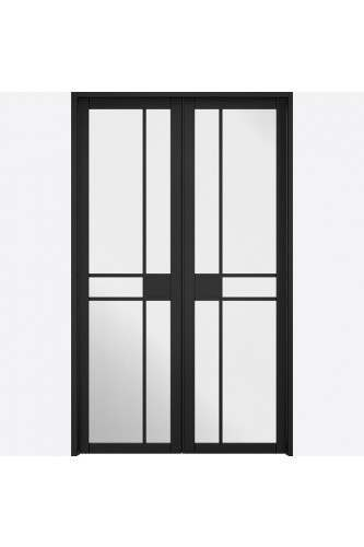 Internal Room Divider Premium Primed Black W4 Greenwich with Clear Glass