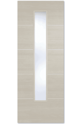 Internal Door Ivory Laminate Santandor with Clear Glass Prefinished