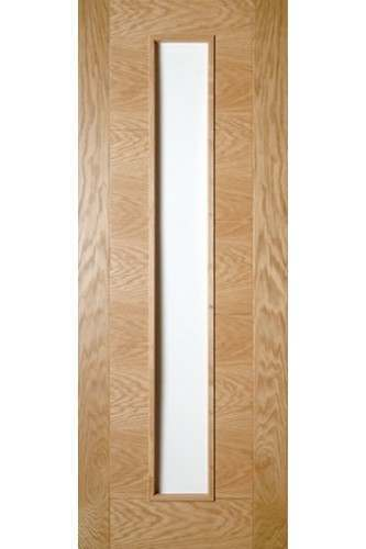 Internal Fire Door Oak Seville with Clear Glass Prefinished